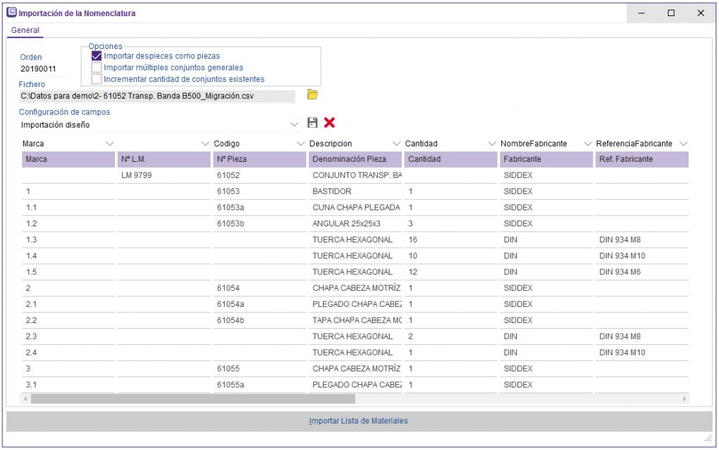 siidex erp maquinara importancion nomenclatura cad oficina tecnica diseño